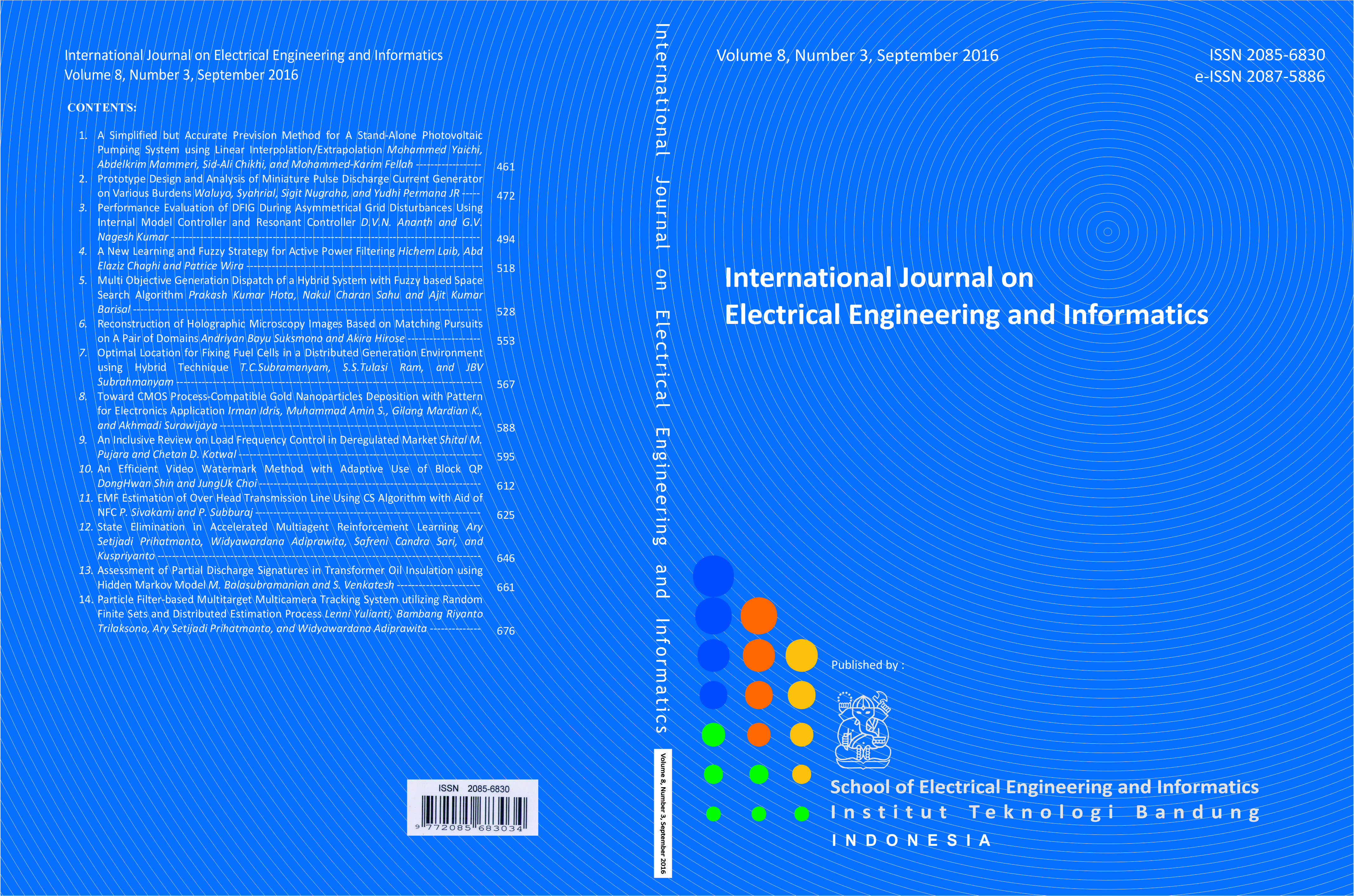 Journal cover Volume 8 Number 3 Year 2016