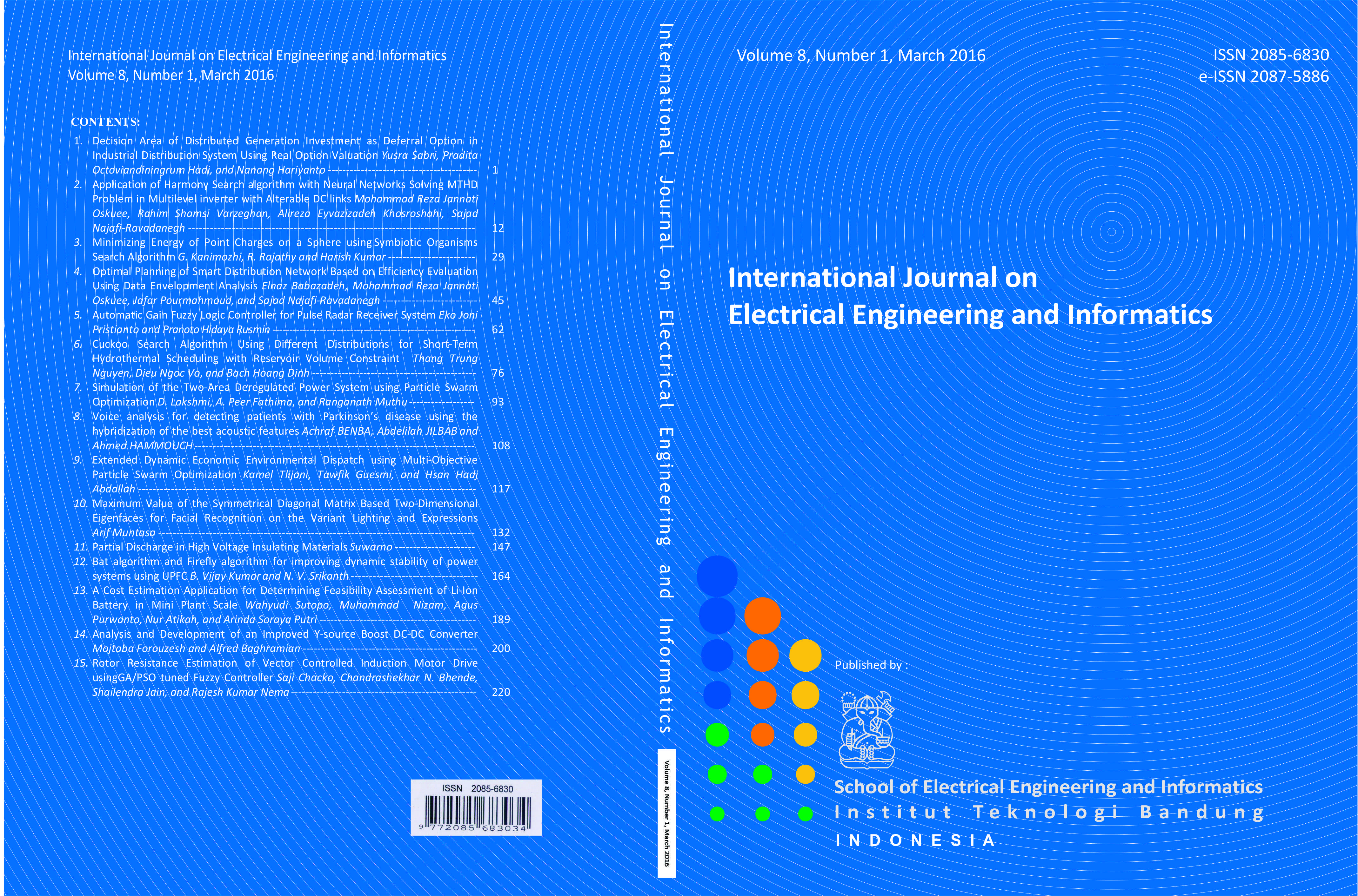 Journal cover Volume 8 Number 1 Year 2016