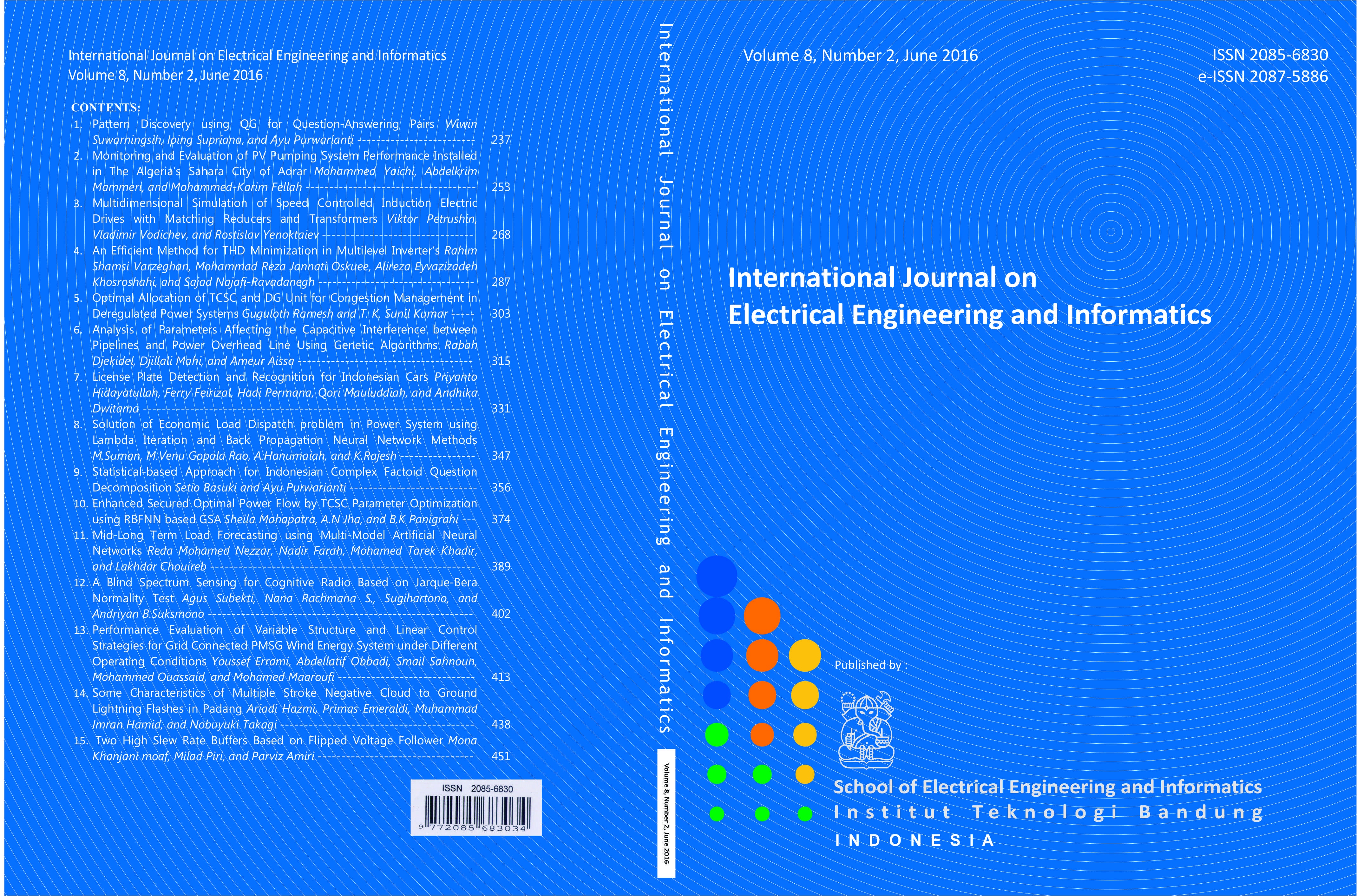 Journal cover Volume 8 Number 2 Year 2016